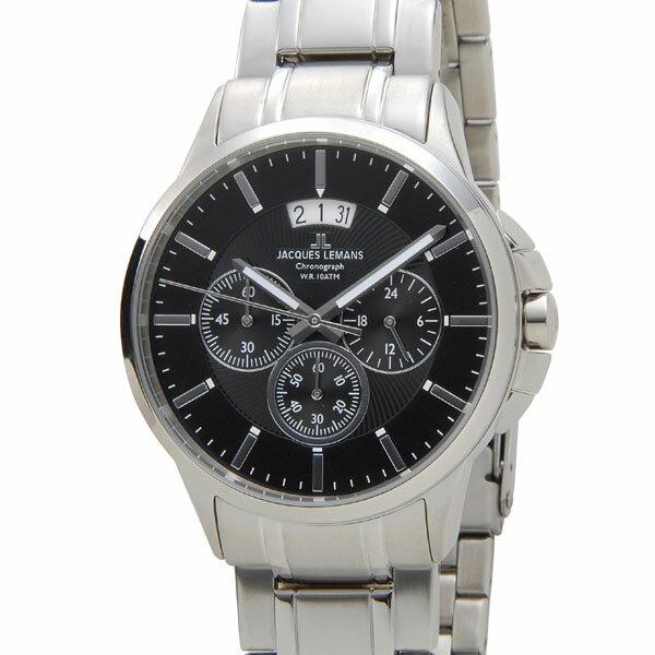 ジャックルマン JACQUES LEMANS 1-1542K シドニー クロノグラフ デイト メンズ 腕時計 ブラック