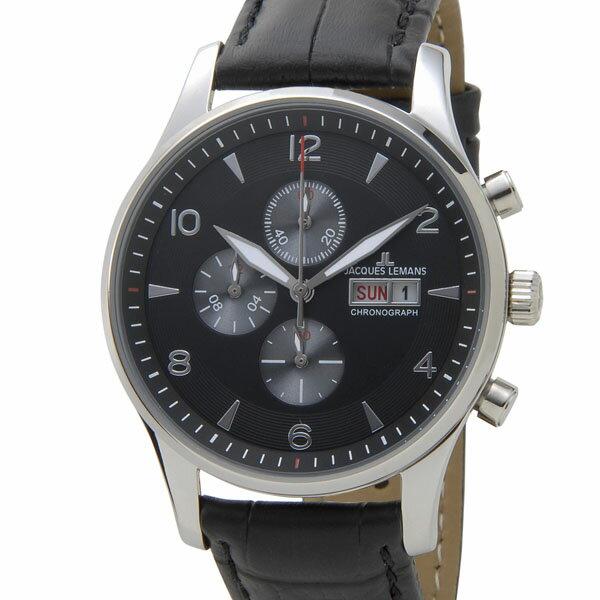 ジャックルマン JACQUES LEMANS 1-1908A クロノグラフ デイデイト メンズ 腕時計 ブラック