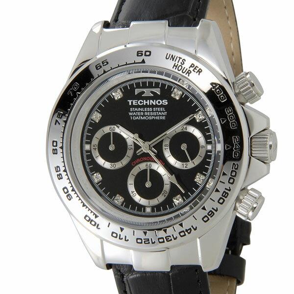テクノス TECHNOS T4392LB クロノグラフ 24時間計 10気圧防水 ブラック×シルバー メンズ 腕時計
