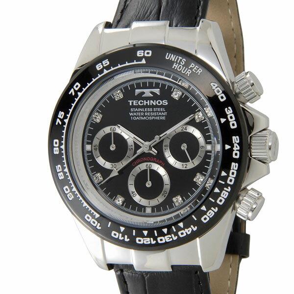 テクノス TECHNOS T4392LT クロノグラフ 24時間計 10気圧防水 ブラック×シルバー メンズ 腕時計