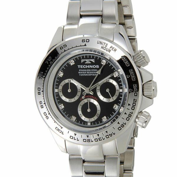 テクノス TECHNOS T4392SB クロノグラフ 24時間計 10気圧防水 ブラック×シルバー メンズ 腕時計