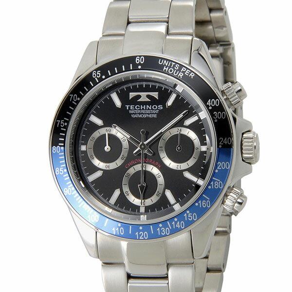 テクノス TECHNOS T4414SN クロノグラフ 24時間計 10気圧防水 ブラック×ブルー×レッド メンズ 腕時計