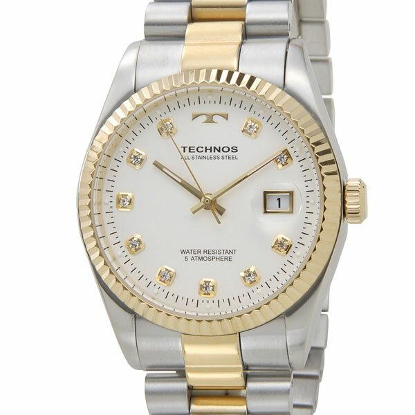 テクノス TECHNOS T9455TW デイト 5気圧防水 クリアストーン10P ホワイト×ゴールド メンズ 腕時計