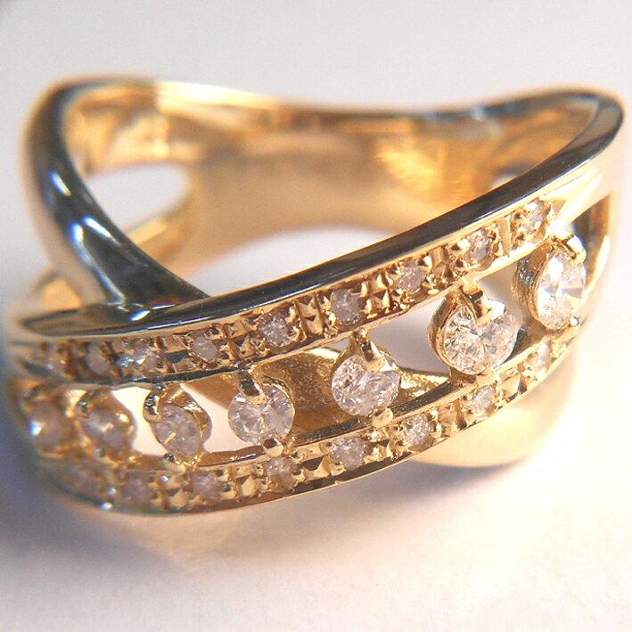 【18金 プレゼント】K18 指輪 イエローゴールドダイヤモンドリング 0.4ct【ダイヤ24石】【レディース】★6.5g★11号【送料無料】【RCP】P19Jul15