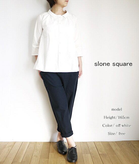 【まとめ買い10%OFFクーポン→11/11】 slone square 8855 スロンスクエア ダンガリージャガード ギャザーシャツ ブラウス