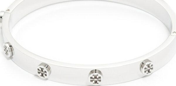 (取寄)Tory Burch Logo Stud Hinge Bracelet トリーバーチ ロゴ スタッズ ヒンジ ブレスレット Tory Silver