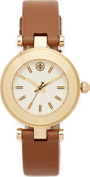 (取寄)Tory Burch The Classic T Leather Watch トリーバーチ ザ クラシック T レザー ウォッチ Gold/Ivory/Luggage