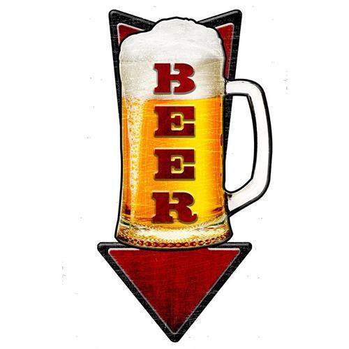 【スティール サイン 3-D Cold Beer Arrow】フード ドリンク 壁掛け 看板 インテリア 雑貨 USA 直輸入
