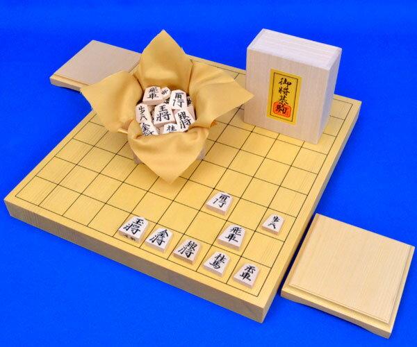 将棋セット 新かや1寸卓上将棋盤セット(将棋駒白椿中彫駒)