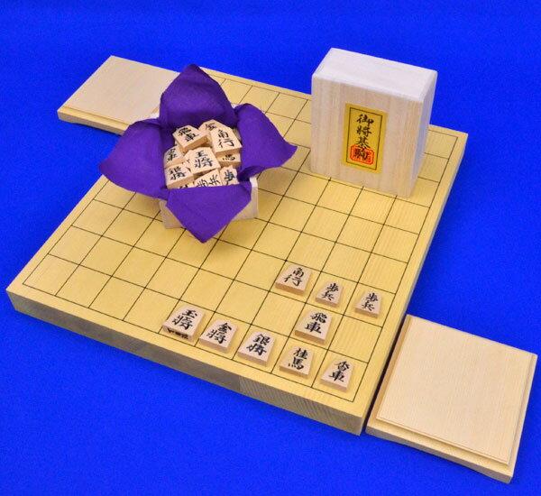 将棋セット 新かや1寸卓上将棋盤セット(将棋駒黄楊錦旗彫駒)
