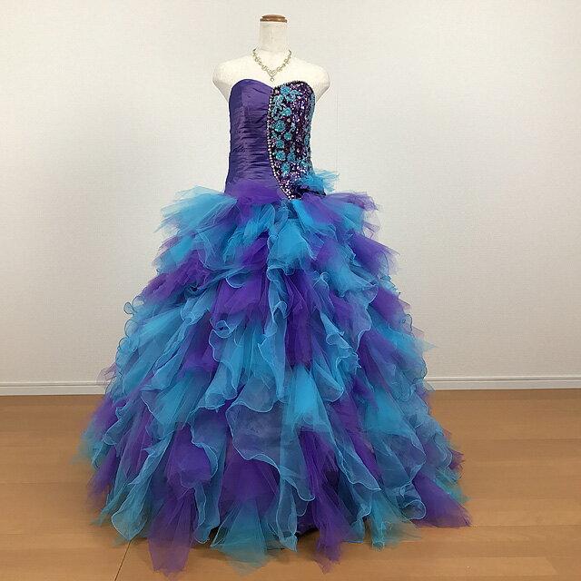 カラードレス 演奏会用ドレス ウエディング ロングドレス プリンセスライン9号~ 11号~13号ブルー*パープル 胸元の刺繍が華やかなカラードレスです☆結婚式 披露宴 発表会 舞台 ステージ衣装に♪ 背中編み上げでサイズ調整可 大きいサイズ 0510