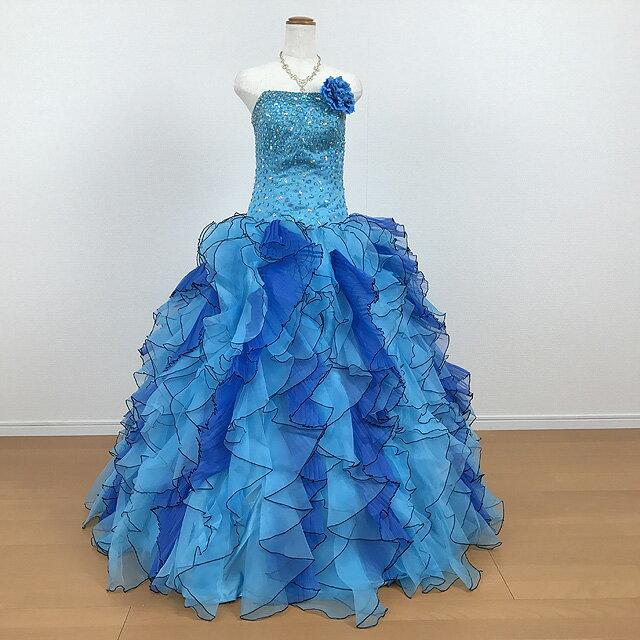 カラードレス 演奏会用ドレス ウエディング ロングドレス プリンセスライン 11号~13号 ブルー 胸元の刺繍が華やかなカラードレスです☆結婚式や披露宴 発表会 舞台 ステージ衣装に♪ 背中編み上げでサイズ調整可 大きいサイズ 0511