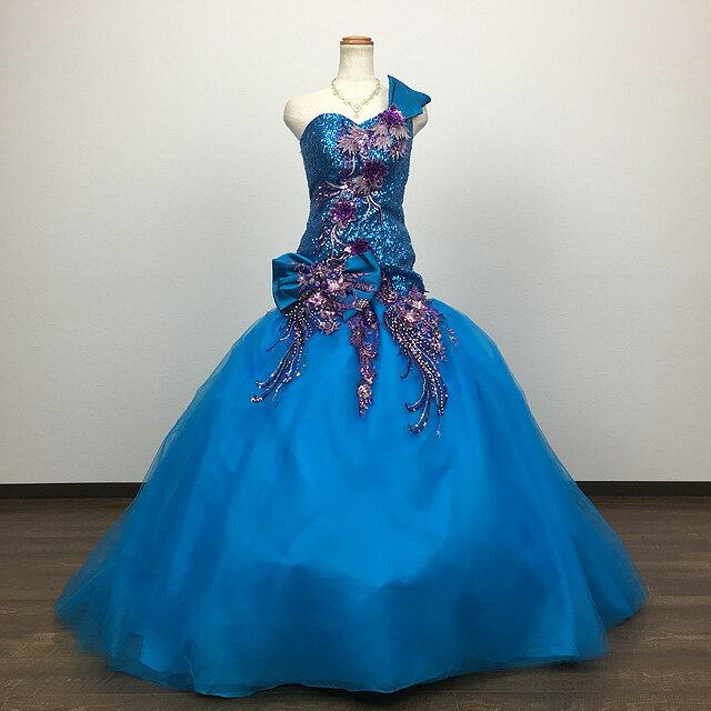 カラードレス ブルー 9号~11号 ロングウエスト  ウエディング ドレス ビーズ飾り♪ ロング プリンセスライン スパンコールがゴージャスなドレス♪ 背中編み上げ♪ 結婚式や発表会にも! ウエディング ブライダル 衣装 発表会 演奏会 81706