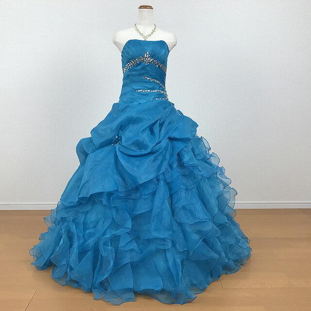 【グローブプレゼント♪】カラードレス ブルー系 ボリュームドレス 結婚式 ウエディング 披露宴 ふんわり 刺繍 可愛くて上品なカラードレス ブルー スパンコール★11号★