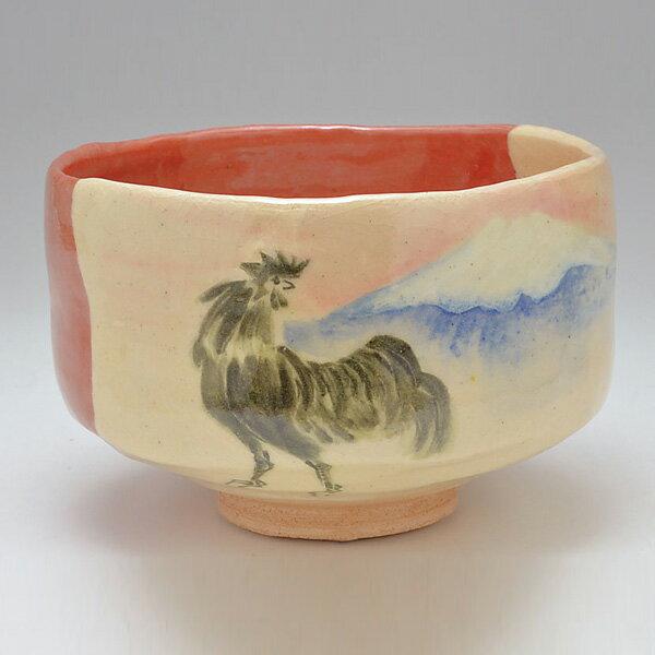 【茶道具/茶碗】赤楽 富士に鶏【国内配送料無料】【抹茶椀】
