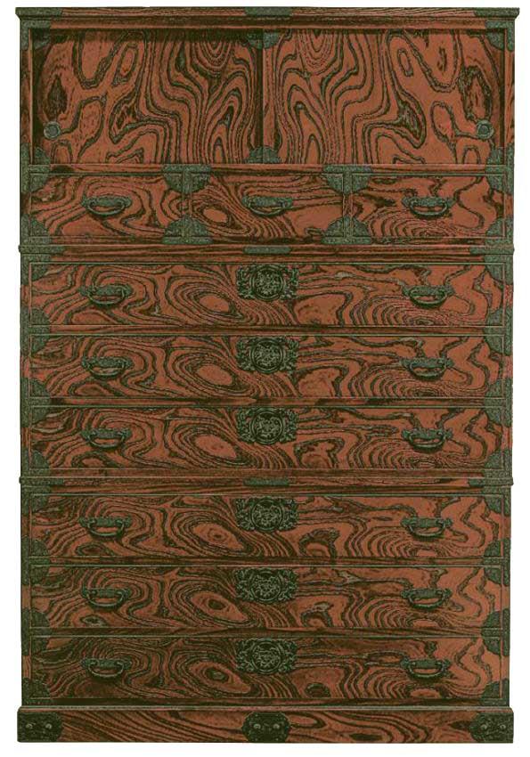 筑後民芸120cm昇り箪笥(時代塗)