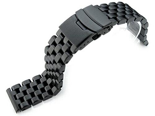 21.5mm メタル時計�ンド ステンレスス�ール スーパーエンジニア ブレスレット PVDブラック SEIKO Tuna SBBN011, SBBN013, SBBN025, SBBN029他