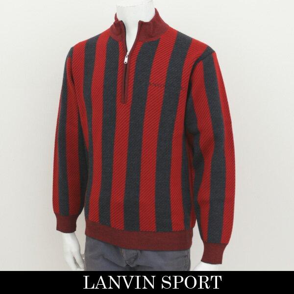 国内発送 LANVIN SPORT(ランバン スポール)セーターレッド×チャコールグレーVMG4081C1 N14