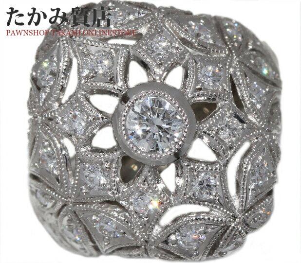 【中古】【新品仕上げ】 Pt900 ダイヤ0.27ct/ダイヤ0.74ct 指輪(リング) 11号