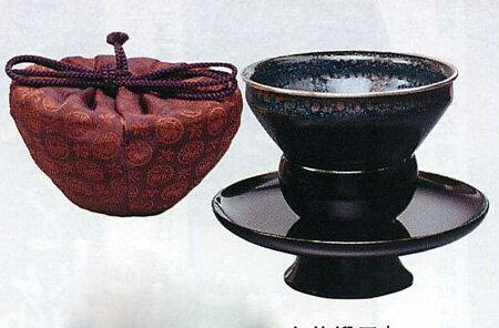 【茶器 茶道具】油滴天目茶碗セット「真塗天目台・兎丸紋唐花緞子」