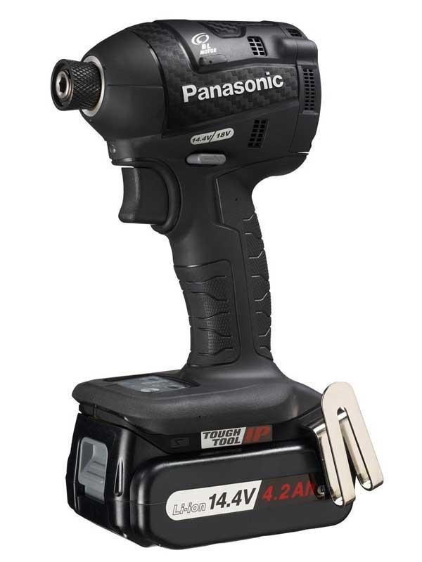 パナソニック『充電インパクトドライバー』EZ75A7LS2F-B 黒 14.4V 18V対応 4.2Ah×2 充電器付【中古】b02t/h09S