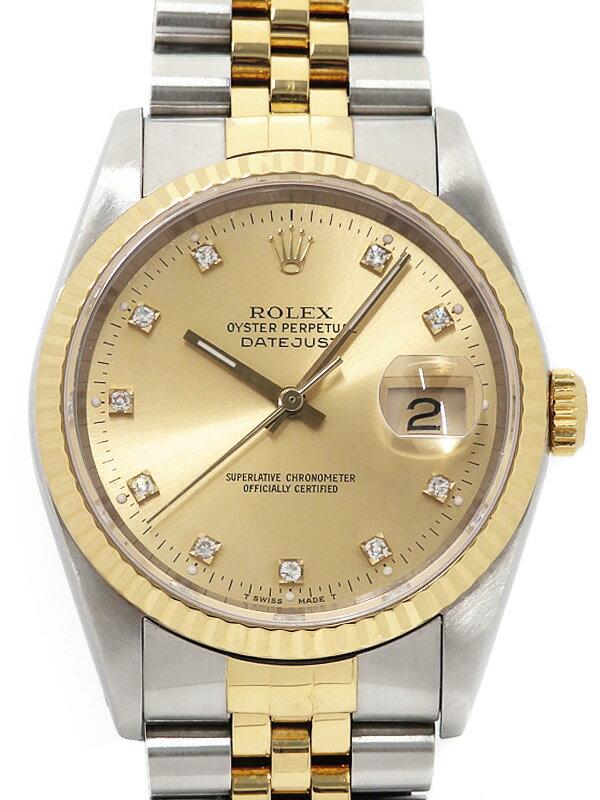 【ROLEX】ロレックス『デイトジャスト 10Pダイヤ』16233G E番'90年頃製 メンズ 自動巻き 12ヶ月保証【中古】b03w/h20BC