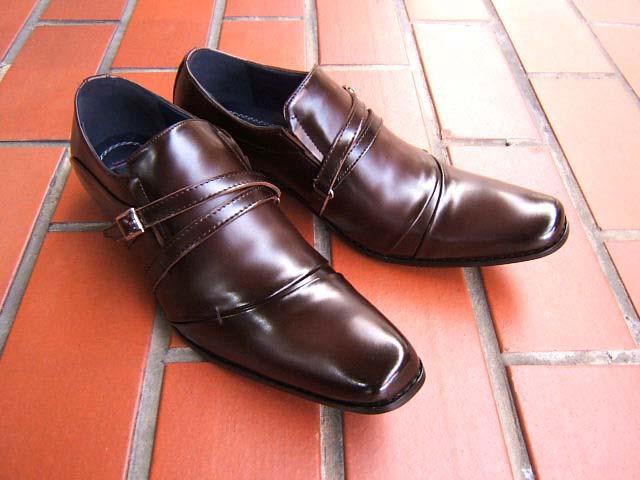 洗練された都会派ビジネスマンにオススメの1足♪MEMPHIS CLUB/メンフィス クラブ 紳士靴 ダークブラウン クロスモンク ロングノーズ ビジネス 送料無料