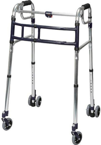 介護 歩行器 幅4段階伸縮式 スライドフィット超ハイタイプ 前・後輪4インチ HT-0194W hkz 福祉用具 通販