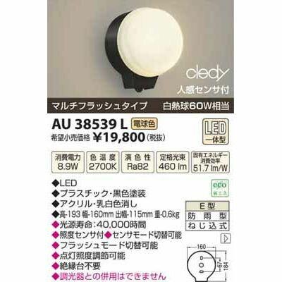 コイズミ LED防雨型ブラケット AU38539L