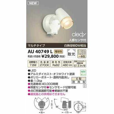 コイズミ LEDアウトドアスポット AU40749L