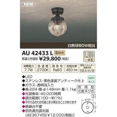 コイズミ LED防雨型直付器具 AU42433L