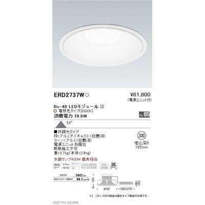 【代引手数料無料】遠藤照明 LEDZ Rs series リプレイスダウンライト ERD2737W