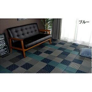 その他 純国産/日本製 い草花ござカーペット 『京刺子』 ブルー 本間8畳(約382×382cm) ds-783747