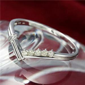 その他 K14ダイヤリング 指輪 Vデザインリング 7号 ds-867793