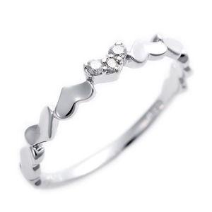その他 ダイヤモンド ピンキーリング K10 ホワイトゴールド ダイヤ0.03ct ハートモチーフ 2.5号 指輪 ds-1244477