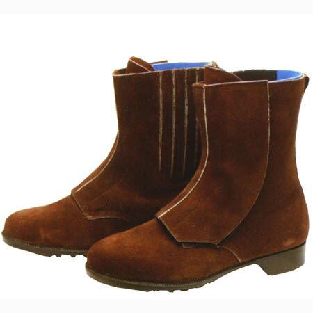 保障できる 安全靴 耐熱用 セーフティシューズ アオキ 熱 半長靴 耐熱 耐油 JIS 耐熱用靴  青木産業 ATENEO(アテネオ) マジックタイプ 1704 茶 23.5~28.0cm