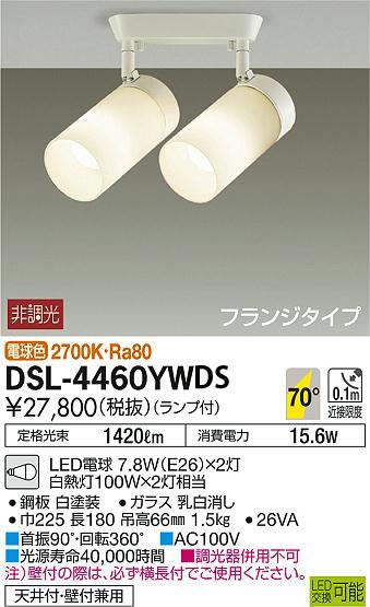 DSL-4460YWDS DAIKO 100形×2 フランジタイプスポットライト [LED電球色]