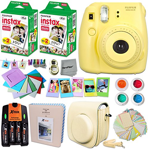 FujiFilm Instax ミニ 8 Camera イエロー + Accessories キット for Fujifilm Instax ミニ 8 Camera インクルーズ: 40 Instax Film + Custom ケース + 4 AA Rechargeable Batteries + アソーテッド フレーム + Photo Album + MORE 「汎用品」(海外取寄せ品)