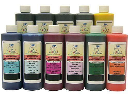 InkOwl - 11x250ml バルク Pigment Ink for EPSON Stylus プロ 4900 - メイド in the USA (海外取寄せ品)