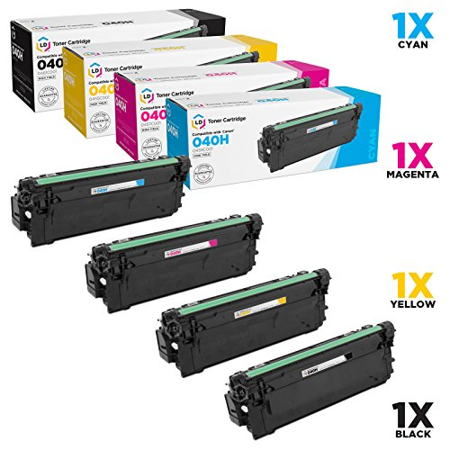 LD c Compatible Canon 040H セット of 4 ハイ-Yield Toner Cartridges: 0461C001 ブラック, 0459C001 シアン, 0457C001 Magenta & 0455C001 イエロー for use in ImageCLASS LBP712Cdn (海外取寄せ品)