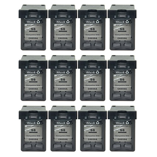 NineLeaf Refilled ブラック Ink Cartridge Compatible for HP 56 C6656AN Photosmart 2450 7150 7260 7260v 7260w 7345 7350 7450 7450v 7450xi Printer ハイ-Yield (520 Pages,Ink レベル Indicator) 12 パック (海外取寄せ品)
