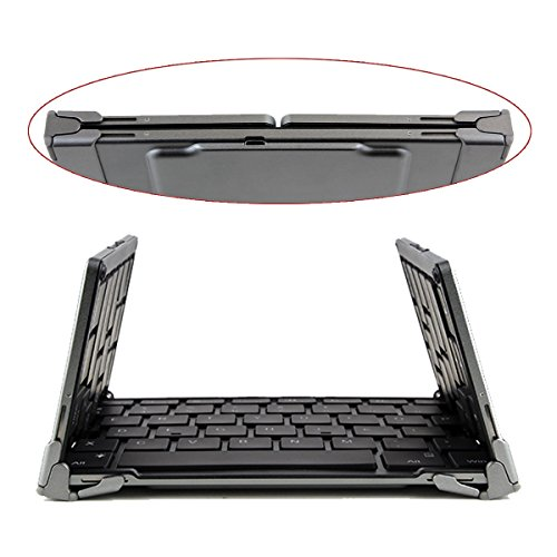 Aluminum Foldable Keyboard Portable Wireless ブルートゥース Keyboard ミニ Ultra-スリム for iPad ミニ, iPad プロ, iPhone, and other Tablets and Smartphones - グレー (海外�寄��)