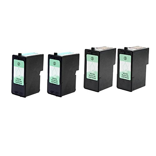 Remanufactured LEXMARK 18C1530 (No.3) and 18C0190 (No.2) 2 ブラック and 2 カラー Printer Ink Cartridge 4-パック (海外取寄せ品)