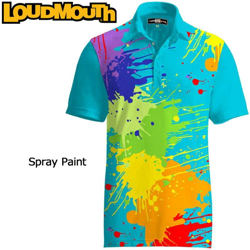 [クーポン有][Newest]ラウドマウス ファンシーシャツ Spray Paint スプレーペイント Loudmouth Fancy Shirt[新品]ゴルフウェアメンズポロシャツトップス LM