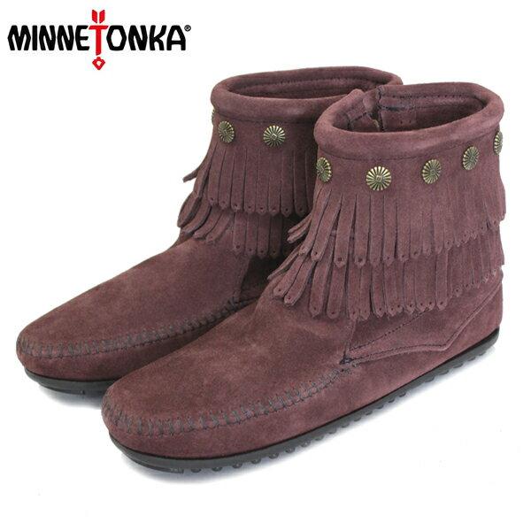 正規取扱店 MINNETONKA(ミネトンカ) Double Fringe Side Zip Boot(ダブルフリンジサイドジップブーツ) #698R RAISIN レディース MT409