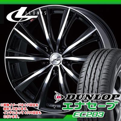 サマータイヤ 165/60R15 77H ダンロップ エナセーブ EC203 & レオニス WX BKミラーカット 4.5-15 タイヤホイール4本セット