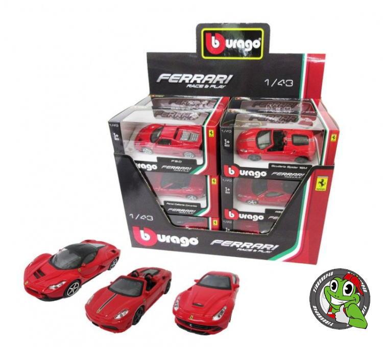 【burago】フェラーリ 1:43シリーズ 【Ferrari 12個アソート】大人買いセット【赤】レース&プレイシリーズ1/43ダイキャストモデルブラーゴ ミニカー【12点セット】エンツォ/458/488GTB/F40/F12 etc.