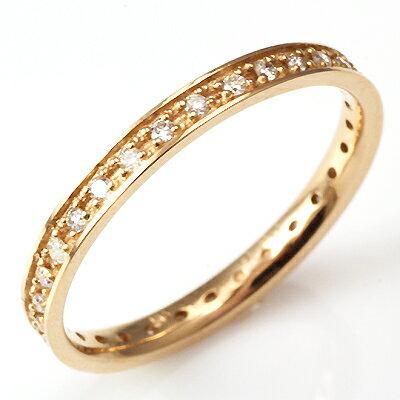 【ポイント10倍】【送料無料】【新品】K18PG ダイヤフルエタニティリング 指輪  D0.20 18金  おしゃれ レディース 女性 かわいい 可愛い オシャレ