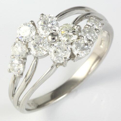 【ポイント2倍】【送料無料】【新品】PT900 ダイヤモンドフラワーリング 指輪  D1.00 1ct プラチナ  おしゃれ レディース 女性 かわいい 可愛い オシャレ