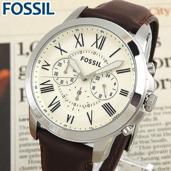 ★送料無料 FOSSIL フォッシル FS4735 海外モデル メンズ 腕時計 ウォッチ 革ベルト レザー クロノグラフ クオーツ カジュアル アナログ 白 ホワイト 茶 ブラウン  誕生日プレゼント ギフト